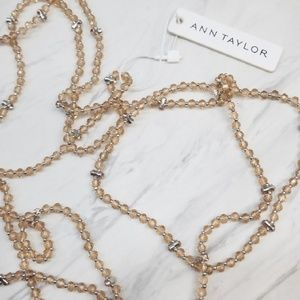 Ann Taylor Peach Gold Tone Long Sweater Necklace